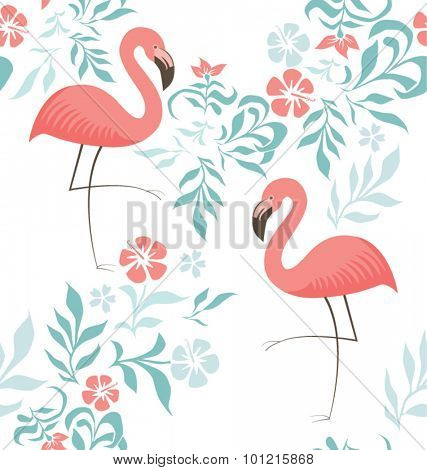 EXOTIC FLAMINGO PATTER, BACKGROUND DESIGN. Modern stylish texture. Repeating and editable vector illustration file. Can be used for prints, textiles, websites blogs etc.