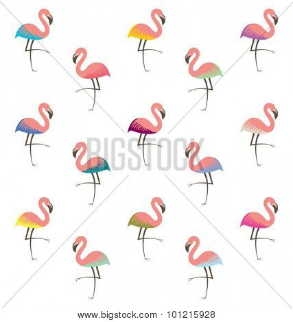 FLAMINGO COLORFUL PATTERN. vector file. seamless art background design for fashion fabric, art and decor