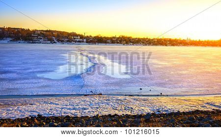 Frozen Volga River at sunset in the city of Kostroma, Russia