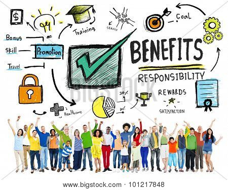 Benefits Gain Profit Earning Income People Celebration Concept