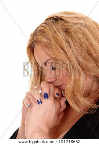 Blond Business Woman Praying With Closed Eye's.