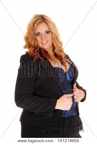 Blond Full Size Businesswoman In Portrait.