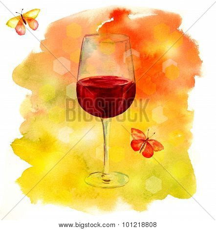 Watercolor glass of red wine with bokehs and vivid butterflies