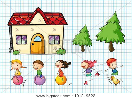 Children playing and house set illustration