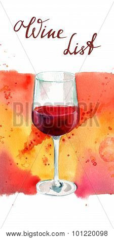 Watercolor glass of red wine with bright banner and handwritten words 'wine list'