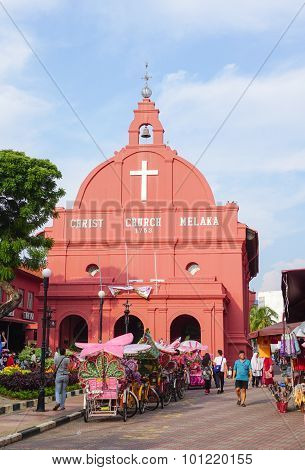 Day View Of Christ Church In Malacca