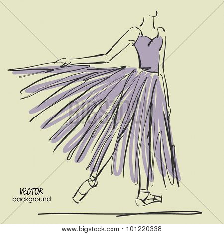art sketched beautiful young ballerina with long tutu in a static position of bow. Vector illustration