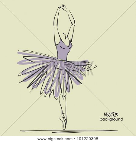 art sketched beautiful young ballerina with long tutu in pose of dance with raised her hands. Vector illustration