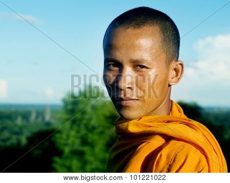 Angkor Portrait Cambodian Monk Traditional Culture Concept