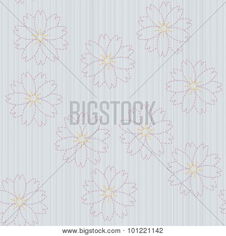 Old japanese quilting. Sashiko with sakura flowers. Seamless pattern.