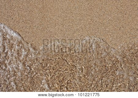 sea wave on the sand shot frontally