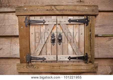 The window of the old  wooden walls background