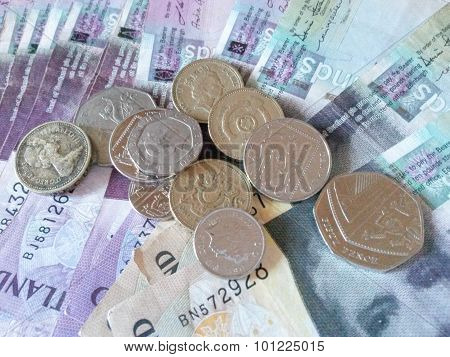 EDINBURGH SCOTLAND UK - CIRCA AUGUST 2015: Scottish sterling pound banknotes and notes currency of Scotland