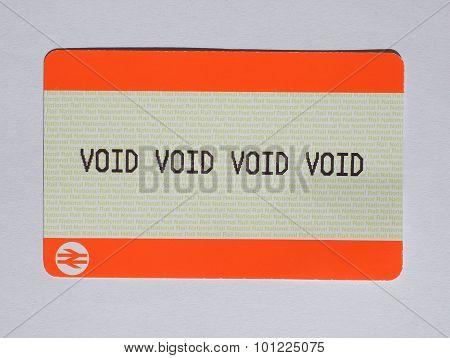 LONDON UK - AUGUST 19 2015: void void void void blank train ticket of the National Railways