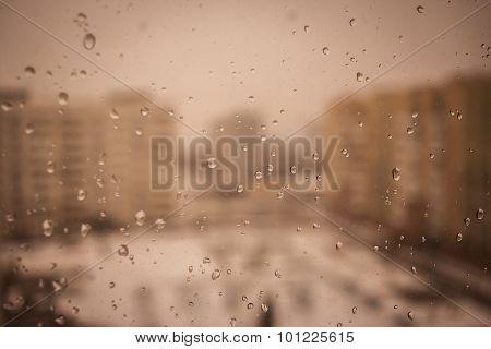 Raindrops On Window Glass, Background
