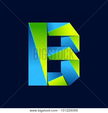 B Letter Line Colorful Logo. Abstract Trendy Green And Blue Vector Design Template Elements For Your