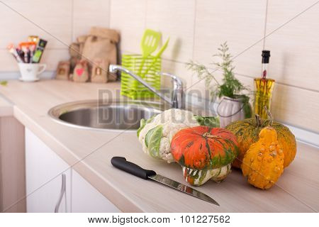 Decorative Pumpkins On Kitchen Countertop