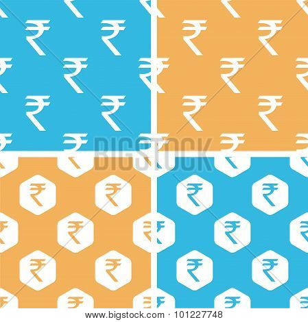 Indian rupee pattern set, colored