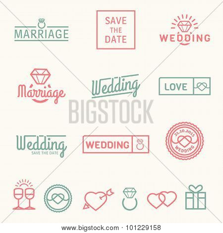 Wedding set icons and logos