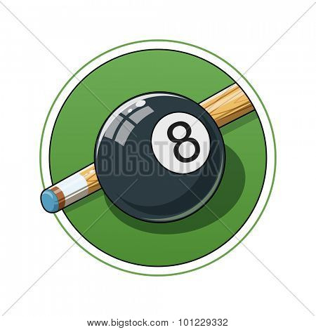 Billiard ball. Eps10 vector illustration. Isolated on white background