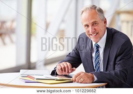 Portrait of smiling senior corporate businessman, waist up