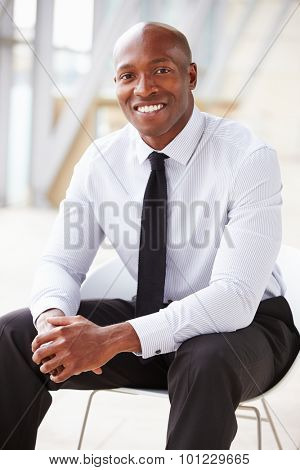 African American corporate businessman, vertical portrait