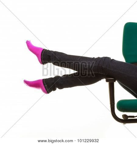 Legs In Warm Sock, Girl Relaxing On Wheel Chair