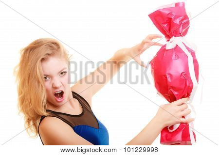 Holidays Love Happiness Concept - Girl With Red Gift