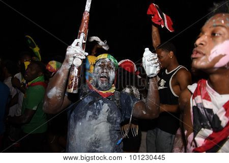 Revelers with powder & painted faces