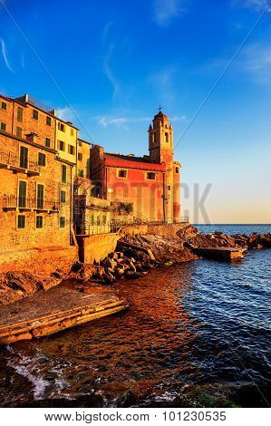 Tellaro Rocks, Church And Village On Sunset. Cinque Terre, Ligury Italy