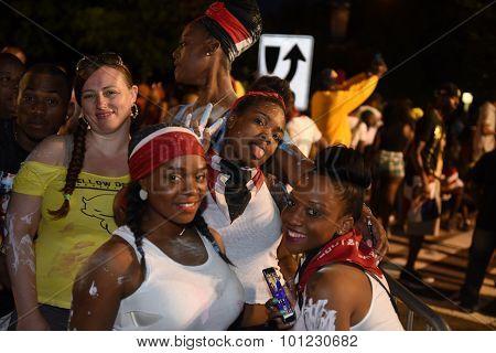 Women revelers on Flatbush Avenue