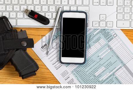 Desktop With Audit Equipment