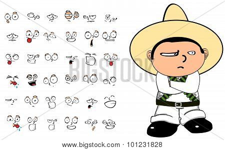 annoying mexican kid cartoon expressions set
