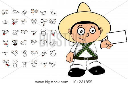 card mexican kid cartoon expressions set