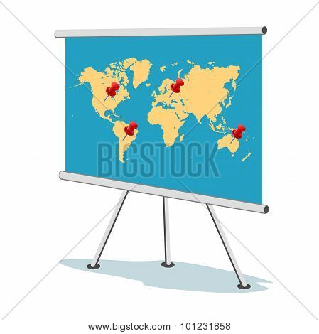 Flip chart, world map with points, business concept,  template, banner,  vector illustration in flat