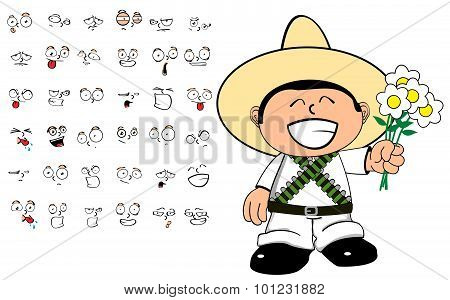 love mexican kid cartoon expressions set