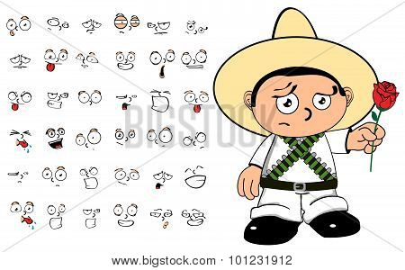rose mexican kid cartoon expressions set