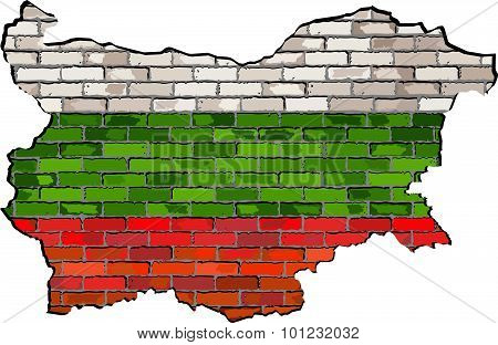 Bulgaria Map On A Brick Wall