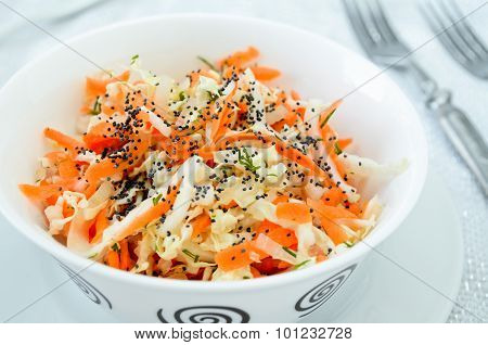pe-tsai cabbage salad with carrot, dill and poppy seed
