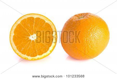 Orange Cut Half And Full Balls On White Background.