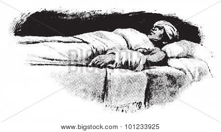 Compress, illustration application to head, heart, abdomen, and arm, vintage engraved illustration.