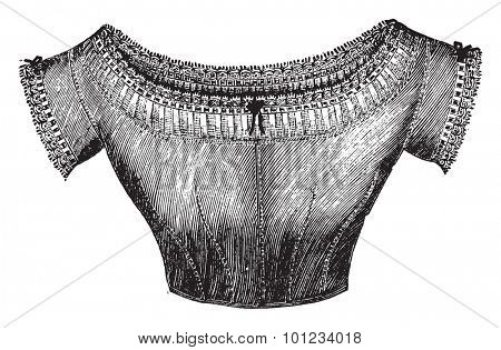 Low under-bodice, vintage engraved illustration.