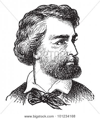 Caucasian man, vintage engraved illustration.