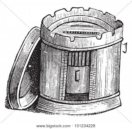 Furnace metal, vintage engraved illustration.