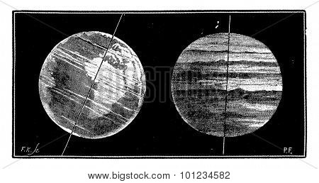 Compared tilt of the axis of the Earth and of the axis of Jupiter, vintage engraved illustration. Earth before man - 1886.