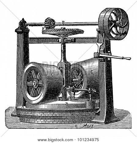 Walking machine dough, vintage engraved illustration. Industrial encyclopedia E.-O. Lami - 1875.