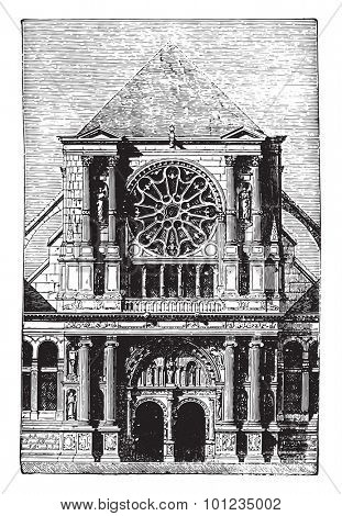 St. Clotilde Andelys portal, vintage engraved illustration. Industrial encyclopedia E.-O. Lami - 1875.