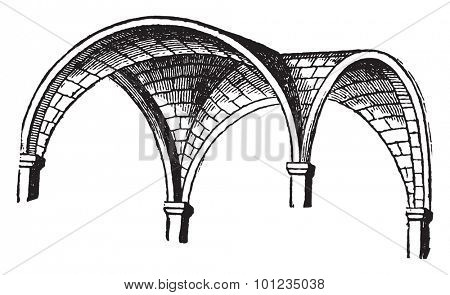 Groined vault, vintage engraved illustration. Industrial encyclopedia E.-O. Lami - 1875.