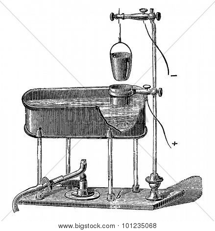 An apparatus for the determination of lead by electrolysis, vintage engraved illustration. Industrial encyclopedia E.-O. Lami - 1875.