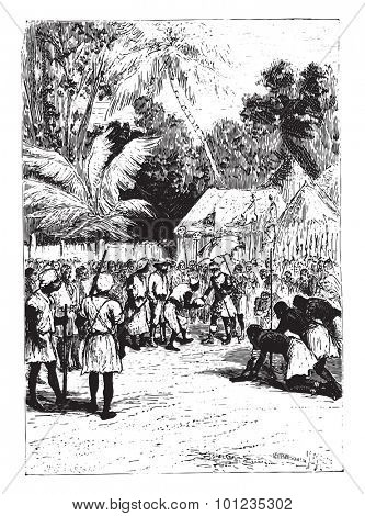 Then, Alves, he stepped in turn, vintage engraved illustration. From Jules Verne 15 years old Captain 1800s book.